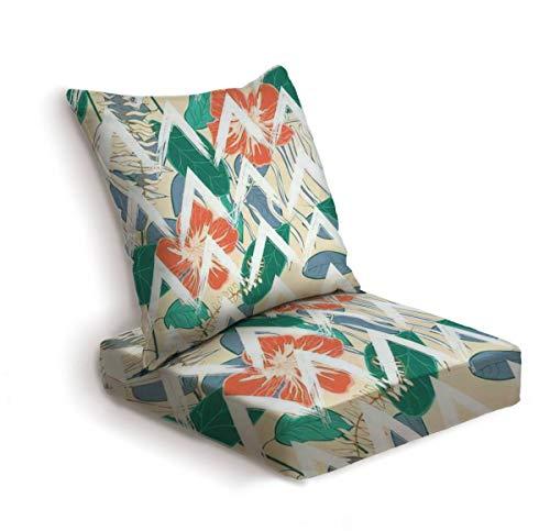 2-Piece Outdoor Deep Seat Cushion Set Orange Monstera Tree Vector Seamless Pattern Green Modern Banana Back Seat Lounge Chair Conversation Cushion for Patio Furniture Replacement Seating Cushion