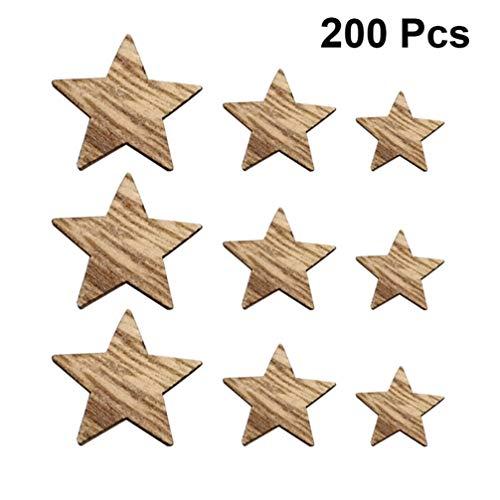 EXCEART 200 Stück Unvollendete Holzstern Vintage DIY Malerei Holz Handwerk Stücke Verzierungen Unvollendete Mittelstücke Handgemachte Ornamente
