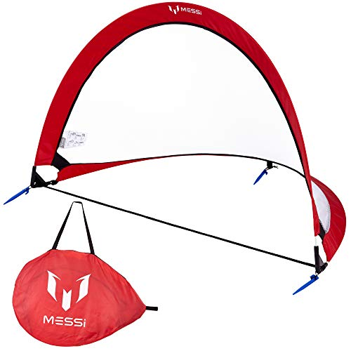Leo Messi Soccer Ball | Solo Youth Soccer Football Kick Throw Trainer with Adjustable Control Cord | Skill Training for Soccer Practice & Drills, Size 3 (RED)
