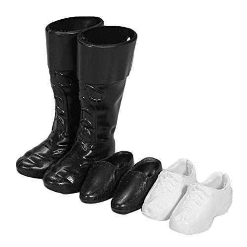 Zubehör für Ken Barbie,Beetest 3 Paar Puppe Schuhe Weiß Turnschuhe Schwarz Formale Schuhe Stiefel Zubehör für Männer KEN Barbie Spielzeug Kinder Geburtstag Weihnachtsgeschenk