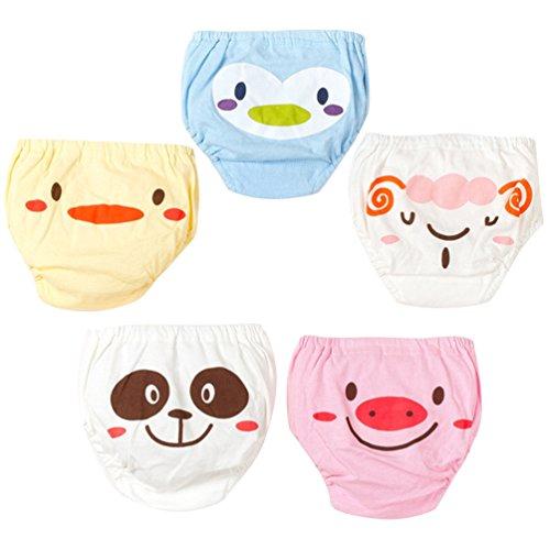 JEELINBORE Bebé Pantalones Reutilizables para Niño Niña, Cómodo Ropa Interior Braguitas Pantis, Multipack | 1-4 años (Estilo1 5PCS, 100)