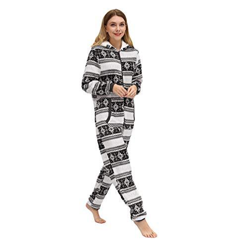Xegood Pijama Mono Mujer Invierno Franela Pijamas de una Pieza Cálido Cosplay Animal Disfraces Halloween Carnaval Cosume Copo de Nieve Negro S