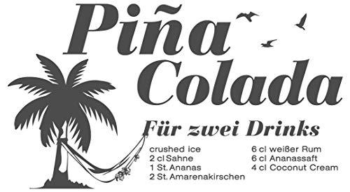 dekodino® Wandtattoo Küche Cocktails Pina Colada Rezept Palme Wandsticker