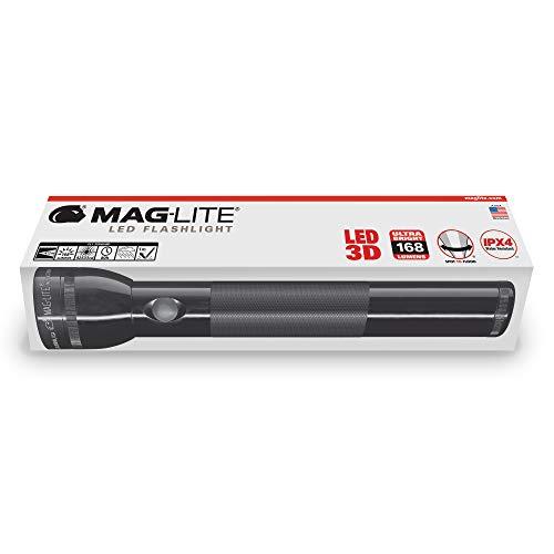 Mag-Lite ST3D015 Lampe de poche LED 3 D-Cell 168 Lumière noir, Aluminium, noir,