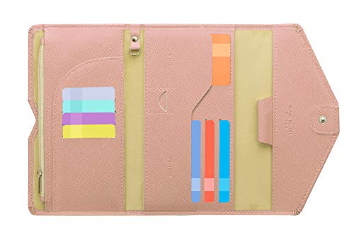 Zoppen Multi-purpose Rfid Blocking Travel Passport Wallet (Ver.4) Tri-fold Document Organizer Holder (#26 Carnation Pink)