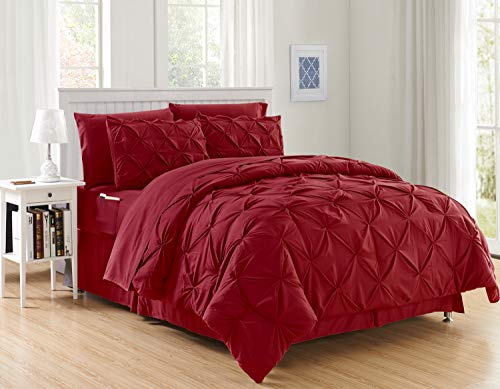 Elegant Comfort Luxury Best, Softest, Coziest 8-Piece Bed-in-a-Bag Comforter Set on Amazon Silky Soft Complete Set Includes Bed Sheet Set with Double Sided Storage Pockets, Full/Queen, Burgundy
