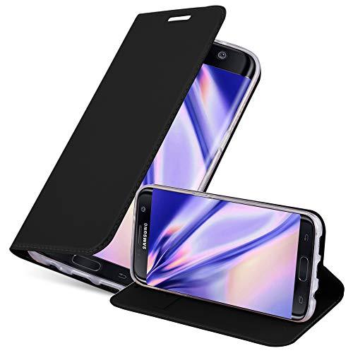 Cadorabo Funda Libro para Samsung Galaxy S7 Edge en Classy Negro - Cubierta Proteccíon con Cierre Magnético, Tarjetero y Función de Suporte - Etui Case Cover Carcasa