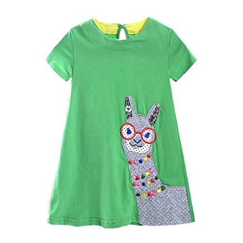 HOUFUNG 18-6T Kinderkleid für Mädchen, Stickerei, Baumwolle, kurze Ärmel, lässige Streifen Gr. 98, grün