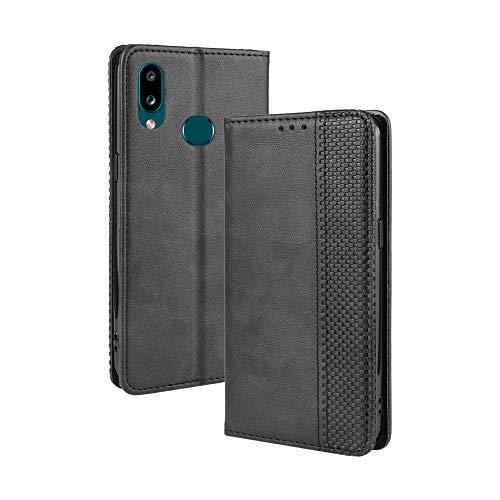 Lagui Telefoonhoes voor Samsung Galaxy A10s, Leather Flip Case Beschermhoes voor mobiele telefoon met kaartenvak Stand en magneetfunctie als portefeuille Compatibel met Samsung Galaxy A10s., Samsung Galaxy A10s, zwart