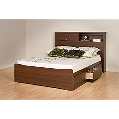 Prepac Coal Harbor Mates Platform Storage Bed with 6 Drawers, Queen, Warm Cherry