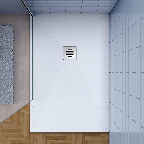 80x120cm Plato de ducha AICA blanco textura pizarra+ desagué con tapa acero inoxidable de forma rejilla(juegos incluido)