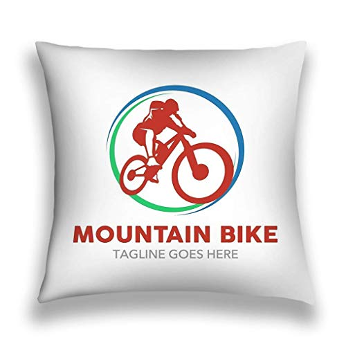 SSHELEY kussenslopen kussensloop kussenslopen met rits 18x18 inch uniek mountainbike-logo eenvoudige vorm kleuren werken