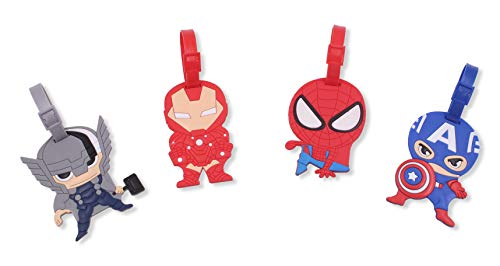 Finex Set of 4 - Avengers Captain America Iron Man Spiderman Luggage ID Tag Bags with Adjustable Strap Superhero