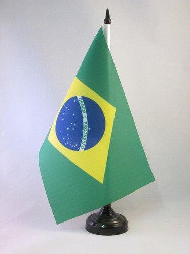 AZ FLAG Bandera de Mesa de Brasil 21x14cm - BANDERINA de DESPACHO BRASILEÑA 14 x 21 cm