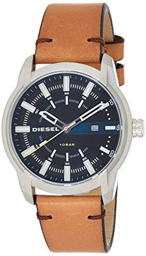 Diesel Herren Analog Quarz Uhr mit Leder Armband DZ1847