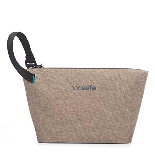 Pacsafe Dry stash Bag, wasserfester Kulturbeutel, Kosmetiktasche, Federmäppchen mit Diebstahlschutz, 4 Liter, Beige/Sand