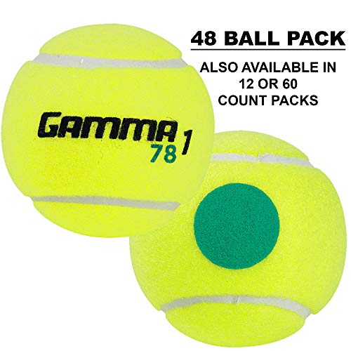Gamma Sports Kids Training (Transition) Balls, Yellow/Green Dot, 78 Green Dot, Bucket of 48
