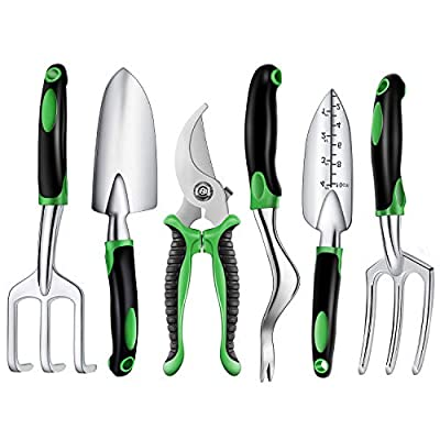 Binoteck Garden Tools Set - 6 Piece Aluminum Alloy Gardening Tool Set Gifts Includes Weeder, Hand rake, Cultivator, Hand Trowel and Transplants Trowel with Rubberized Non-Slip Grip for Women and Man