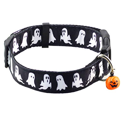 Bolbove Pet Adjustable Halloween Collar with Bell for Medium to Large Dogs (Large, Black Ghost)