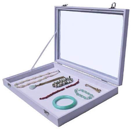 Yudu® Mehrzweckkasten Schmuckkasten Schmucklade Schaukasten Schmuckdisplay mit Glasdeckel ohne Aufteilung Weiss