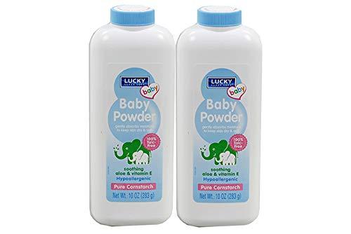 LUCKY Super Soft Pure Cornstarch Baby Powder with Aloe & Vitamin E - 10 oz each (Pack of 2)