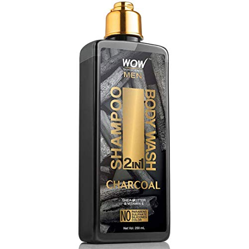 WOW Skin Science Charcoal 2-In-1 Shampoo + Body Wash - No Parabens, Sulphate, Silicones & Color, 250 ml