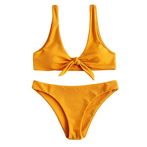 ZAFUL Damen Gepolstert Solide Gerippter Geknoteter Bikini Set Badeanzug Orange Gold S