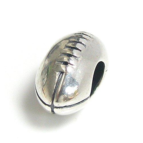 Charm-Anhänger, Rugbyball-Design, 925er-Sterlingsilber, für europäische Charm-Armbänder