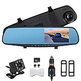 AUTOUTLET Spiegel Dashcam, Full HD 1080P Dual Lens 4,3 '' Auto DVR Spiegel