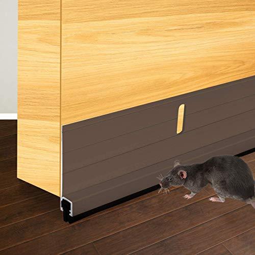 BAINING Metal Door Draft Stopper, 36 Inch Under Door Sweep Bottom Blocker with Rubber Seal Strip, Aluminum Sweeps for Home Doors Rodent Proof, Brown