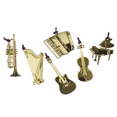 STOBOK 6 pezzi Segnalibri in metallo vintage, segnalibri a forma di strumento musicale per regali di cancelleria aziendale (modello misto)