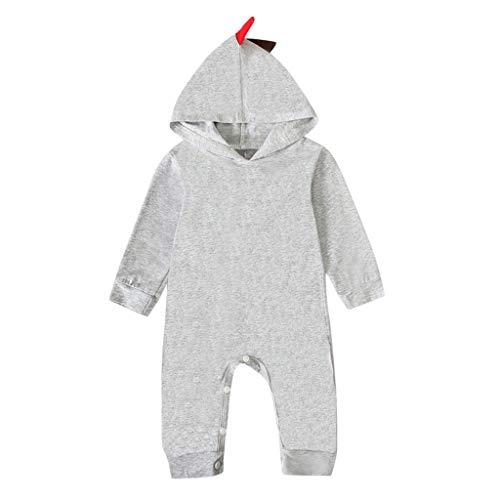 Infant Halloween Jumpsuit,Jchen Baby Boys Girls Long Sleeve Dinosaur Patchwork Sleeper Jumpsuit Playsuits for 3-24 Months Gray