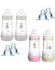 MAM butelka Anti Colic 260 ml 4-pak żwirowy z 8 przyssawkami // rozmiar 1 i 2 od urodzenia