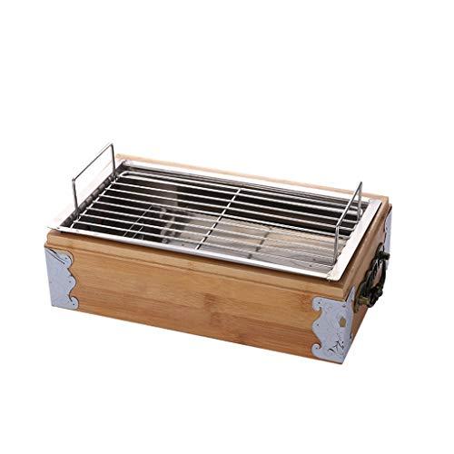 FEANG Holzkohle BBQ Grill Set, Eisen tragbare Holzkohle Grill-Grill-Werkzeug-Kits für den Außenpicknick-Patio-Hinterhof-Campingkochen (Color : B)