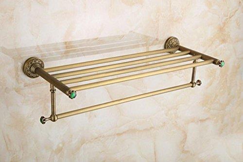 HQQ Perchero de Cobre Antiguo Europeo Creativo Tallado Multifuncional montado en la Pared Toalla de Pared Estante del baño