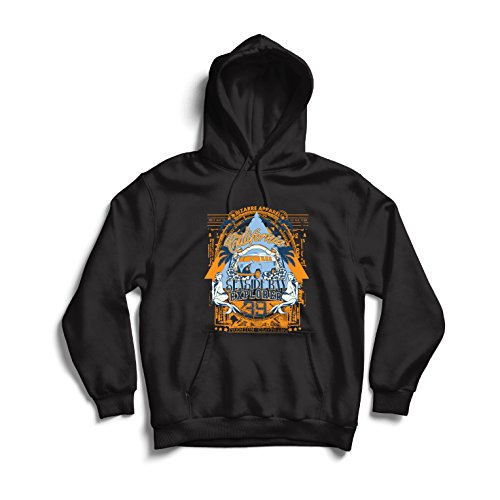 lepni.me Sweatshirt à Capuche Manches Longues Premier Jour de la Californie - Explorateur balnéaire - vêtements de Surf (Medium Noir Multicolore)