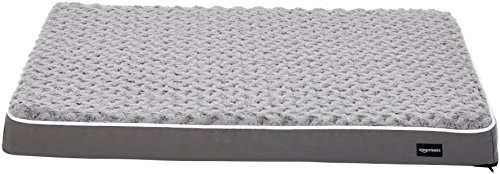 Amazon Basics Ergonomic Foam Pet Dog Bed, 27 x 36 Inches, Grey