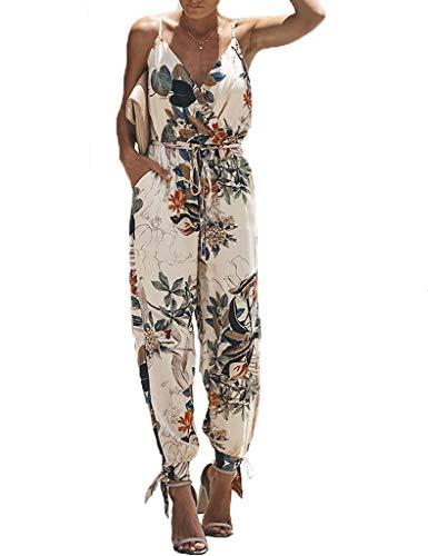 Yiarnme Mode Femmes D'été Combinaison Dos Nu sans Manches Col V Imprimé Floral Camisole Barboteuse Jumpsuit Beige XXXL