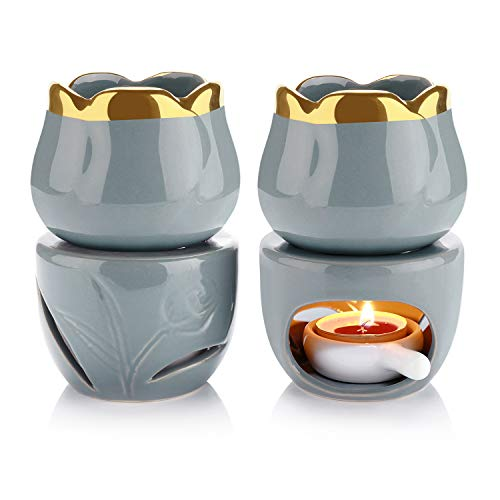 ComSaf Keramik Duftlampe Aromalampe Aromabrenner für Duftöl und Duftwachs mit Kerzenhalter Grau 2er-Set