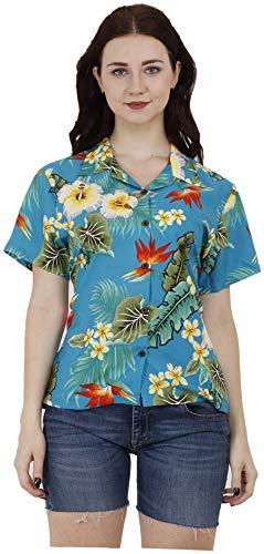 ALVISH - Camisa hawaiana para mujer, diseño de flor de hibisco y Aloha - - Medium