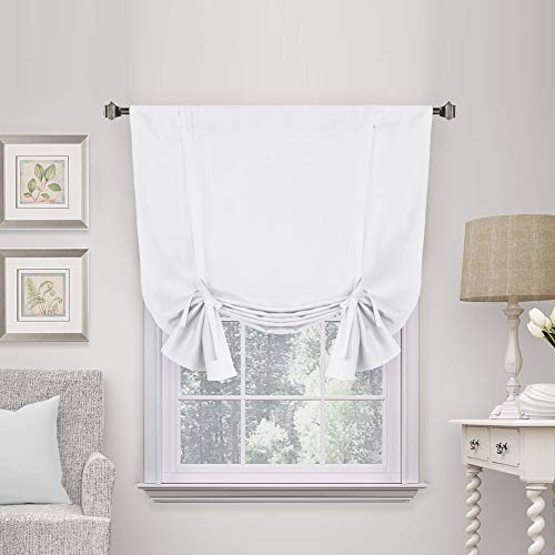 Pure White Curtain Thermal Insulated Tie Up Window Shade Light Blocking Curtains for Bathroom, Rod Pocket Panel- 42' Wide by 63' Long