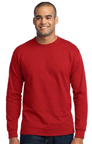 Port & Company Men's Long Sleeve 50/50 Cotton/Poly T Shirt 4XL Red
