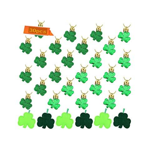St Patrick#039s Day Decorations Shamrock Tree Ornament Green Clover Luck Shamrock Tree Ornaments Hanging Glitter Shamrock Hanging Decorations for St Patrick #039s Day Party Decorations30Pieces☘