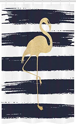 ABAKUHAUS Flamingo Schmaler Duschvorhang, Tier Motiv-Entwurf, Badezimmer Deko Set aus Stoff mit Haken, 120 x 180 cm, Dark Blue Senf Weiß