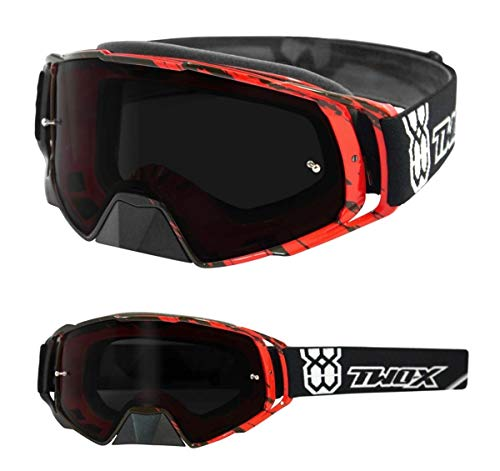 TWO-X Rocket Crossbrille Crush schwarz rot Glas getönt grau MX Brille Nasenschutz Motocross Enduro Motorradbrille Anti Scratch MX Schutzbrille Nose Guard