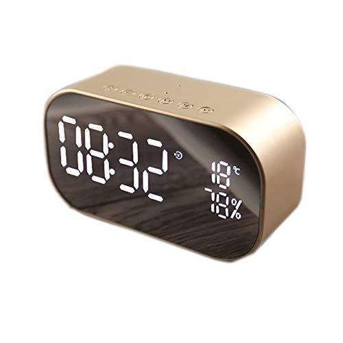 Ganquer Bett Desktop Bluetooth Spiegel Oberfläche LED Wecker Dual Lautsprecher Wireless Tischuhr Schlafzimmer Büro Reise Mode Digital Wecker(Gold)