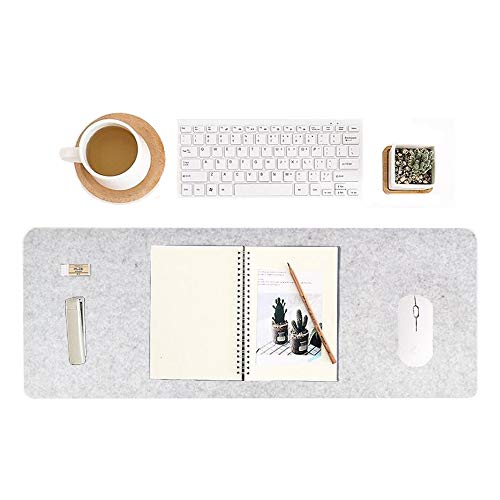 CHuangQi 31.49 inch X 11.81 inch Desk Mat, Computer, Laptop, Keyboard & Mouse Pad Organizer, Felt Cover Office Table Protector (Gray)