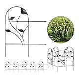 Relaxdays Beetzaun Cercado para jardín (5 Piezas, Metal, 46 x 250 cm), diseño de Mariposa, Color Negro
