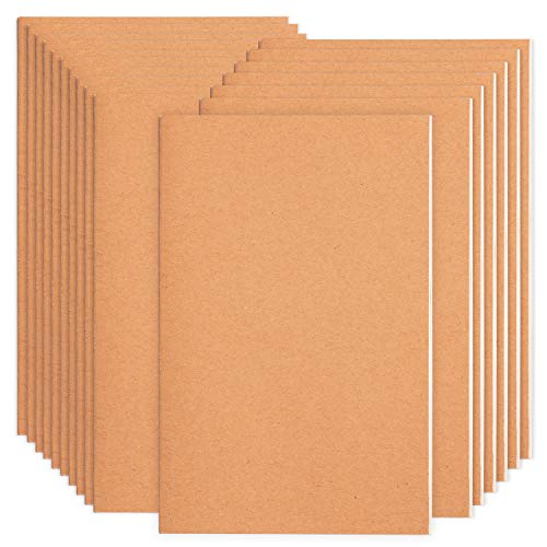 16 Pack Notebook Journals for Travelers, Students and Office , Kraft Brown Soft Cover,A5 Size - 210 mm x 140 mm - 60 Pages/ 30 Sheets,Notebooks 8 Pack Blank Paper and 8 Pack Lined Paper…