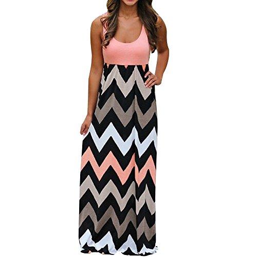 CAOQAO Freizeit Bekleidung Damen Elegant Langer Boho der Streifen Kleid Strand Sommer Sommerkleid Maxikleid Übergröße Abendkleid